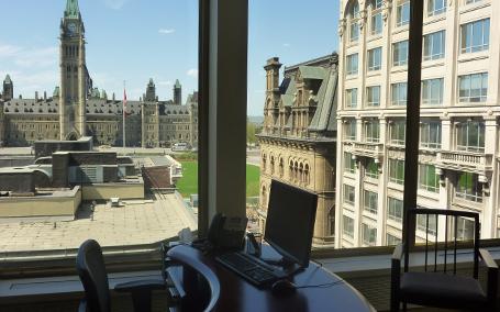 Vue sur le parlement depuis le bureau d'Ottawa