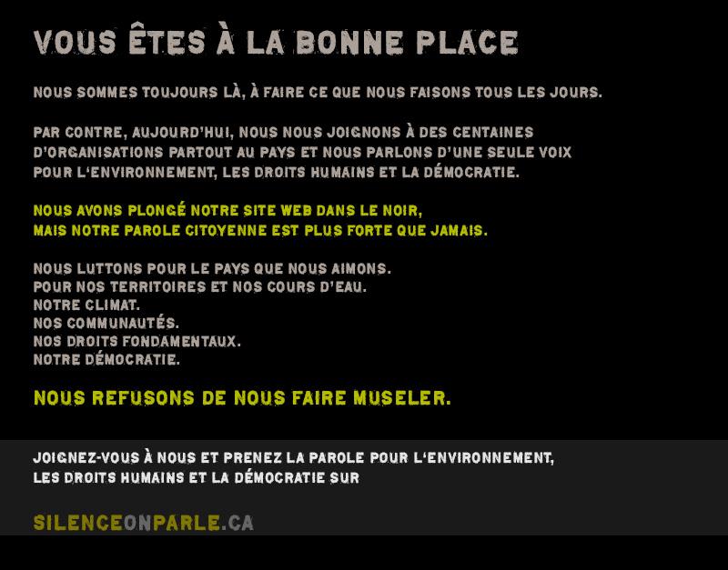 Ce blog se joint à plusieurs organisations partout au Canada pour supporter blackoutspeakout.ca
