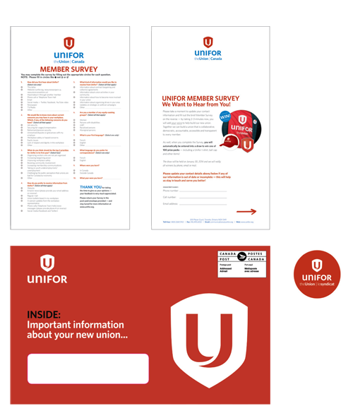 DM pieces using new Unifor branding: survey pages and a label of the Unifor logo