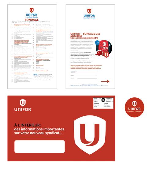Paquet de publipostage utilisant la nouvelle identité visuelle d'Unifor: pages d'étude et une étiquette du logo de Unifor