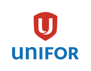 New UNIFOR logo: A white capital letter U on a red shield above the word Unifor in blue